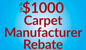 Up to $1000 in carpet manufacturer rebates plus free furniture moving, take-up of old carpet and professional installation during the Summer Sale at Erskine Interiors!